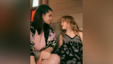 Photo of Selena Gomez and sister Gracie re-enact 'Full House' scene on TikTok.