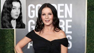 Photo of Catherine Zeta-Jones cast as Morticia in Wednesday Addams Netflix series.